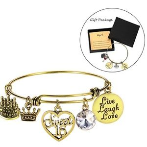 Jewelry - April Birthday Bangles Live Laugh Love Charms